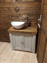 stunning painted sink unit with rustic plank top and farrow u0026 ball