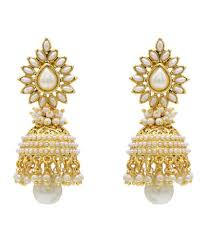 golden earrings hyderabad jewels copper gold plated pearl white and golden