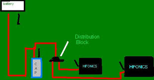 diagram for wiring 1 capacitors to 2 amps