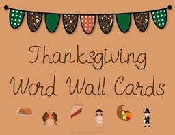 thanksgiving word wall cards by surviving prek ppcd tpt