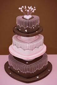 wedding cakes pink u0026 brown heart cake 2070185 weddbook