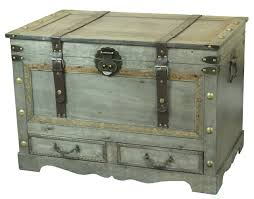 Rustic Trunk Coffee Table Rustic Gray Large Wooden Storage Trunk Coffee Table With Two