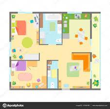planimetria appartamento con mobili vista dall u0027alto vector