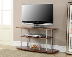 brown varnished wooden open shelves tv stand with chromed metal