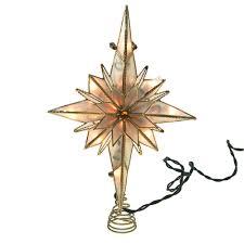 capiz bethlehem star gold christmas tree topper light set warm