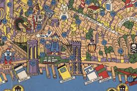 Old Map New York City by Amazing Detailed Graphic Designer U0027s Map From The 1950s Features