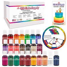 amazon com 24 color cake food coloring liqua gel decorating