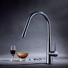 enki modern kitchen sink pull out spray mixer tap faucet brushed