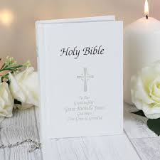 communion bible personalised christening or communion white holy bible