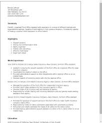 Office Resume Template Professional Front Office Assistant Templates To Showcase Your