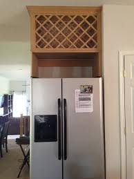 wine rack cabinet over refrigerator need help with space over fridge