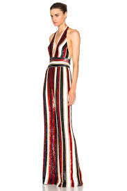 black and gold jumpsuit zuhair murad embroidered stripe jumpsuit in black gold white fwrd
