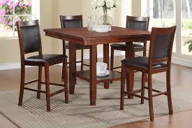 5 pcs acacia black faux leather counter height table set kassa