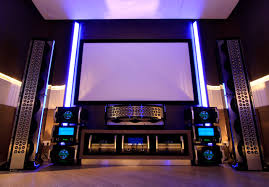 nice awesome design of the home theater that has brown sofas can