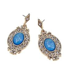 bluestone earrings real collectibles by adrienne blue opal color goldtone