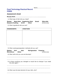 practical food self assessment sheet by sarah tapp teaching