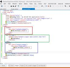 layout design in mvc 4 design a master page with header footer and body in mvc application