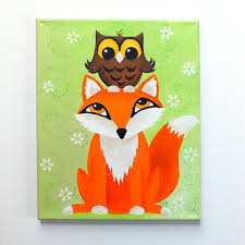 Fox  Owl Painting Kids Room Art X Acrylic Canvas Nursery - Painting for kids rooms