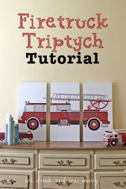 diy firetruck triptych artwork eat drink and save money firetruck triptych tutorial make your own triptych artwork on a budget with this super easy