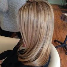 shades of high lights and low lights on layered shaggy medium length i choose many shades of blonde for this clients hair color