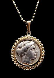 necklace pendant setting images Ancient greek coin nymph eagle gold pendant necklace jpg
