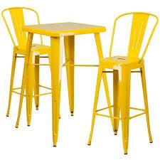 ihome collins square 23 75 yellow metal indoor outdoor table set w