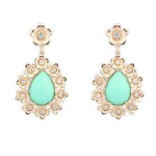 korean earings graduation light green water drop shape gemstone pendant design