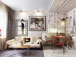 types of contemporary living room design ideas exposed with brick