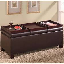 coaster faux leather storage ottoman with reversible trays 501036