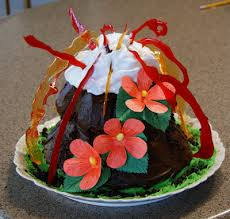 feeding frenzy volcano cake with tropical flowers