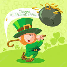 card st patrick u0027s day cute leprechaun playing golf u2014 stock