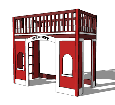 Ana White Fire Station Loft Bed DIY Projects - Furniture row bunk beds