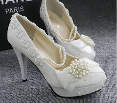 wedding shoes cork stock 2016 white beaded pearls wedding shoes toe high heel