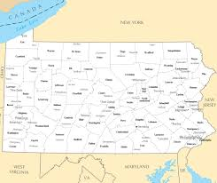 Map Of Pennsylvania Large Administrative Map Of Pennsylvania State With Major Cities