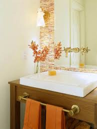 orange bathroom decorating ideas mirror sizes doilies and reds