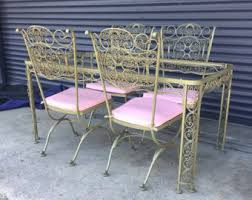 Wrought Iron Patio Table Set by Russell Woodard Etsy