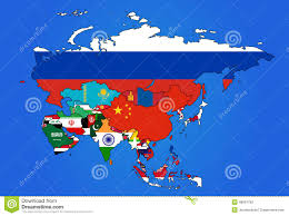 Asia Map With Countries by Asia Flag Map Stock Vector Image 48901782