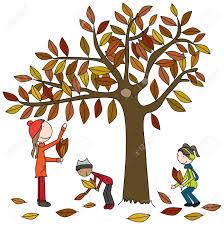 imagenes animadas de otoño ilustración de dibujos animados de una madre un niño y una niña