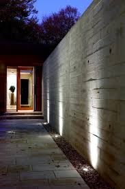 boundary wall entry modern with textured concrete halogen outdoor
