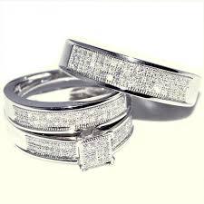 womens diamond rings gold trio wedding set mens womens wedding rings matching 0 40ct w