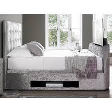 Tv Bed Frames Kaydian Barnard Ottoman Tv Bed Crushed Velvet Silver Tv Beds Fads