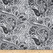 Print On Aprons Premier Prints Paisley Black White Discount Designer Fabric
