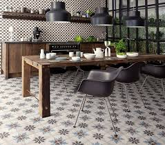 retro patterned floor tiles in vintage kitchen and dining room
