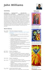 Resume For Artist Graduate Assistant Resume Samples Visualcv Resume Samples Database