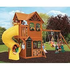 Amazon Backyard Playsets - amazon com cedar summit brookridge cedar wooden play swing set