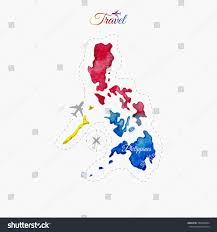 Philippines Map World by Travel Around World Philippines Watercolor Map Stock Vector