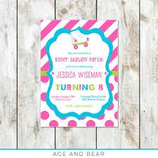 bold color roller skate party invitation u2013 ace u0026 bear