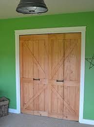 Pictures Of Bifold Closet Doors Diy Bi Fold Closet Door Makeovers Bright Green Door