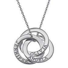 sterling silver ring necklace images Sterling silver interlocking rings engraved names pendant with jpg