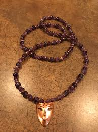 copper necklace images Oya necklace mask necklace copper necklace amethyst stone bead jpg
